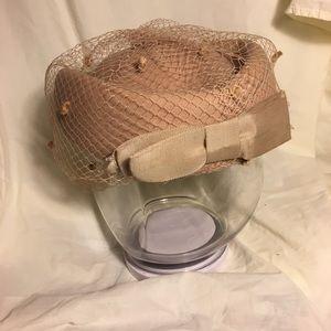 Vintage Beige Pillbox Hat with Blusher Veil.